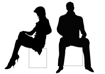 sitting male and female couple