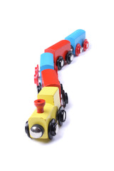 color train toy on the white background