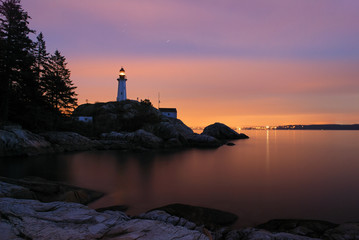 Garden Poster Lighthouse point atkinson lighthouse in twilight