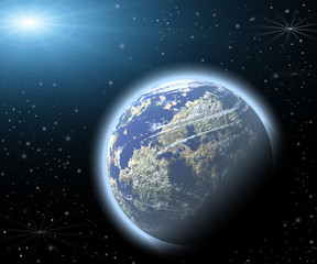 Planet in a space. Light of a star.