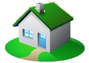 Maison et toiture végétalisée