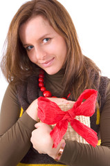 girl and gift in her hands