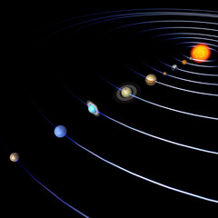 schematical image of the solar system. .With Clipping Path