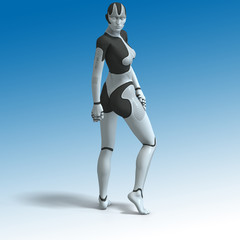 Sexy female android or robot.With Clipping Path