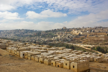 jewish cemetery on olive mount in kidron valley, jerusalem