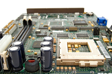 Computer motherboard is photographed close up