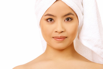 Fresh and Beautiful woman wearing white towel on her head