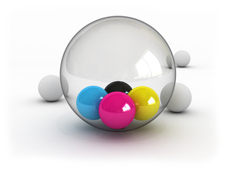 CMYK balls in glass sphere