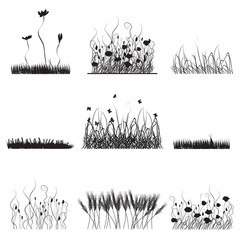 Silhouettes of grass, flowers and butterflies