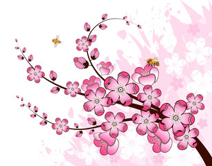 Grunge paint flower background with bee, design, vector