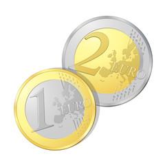 Pièces de un et deux euros, image vectorielle très détaillée