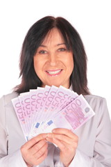 Woman holds Euro