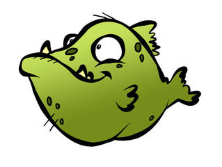 A really ugly green fish with ugly teeth and ugly spots.