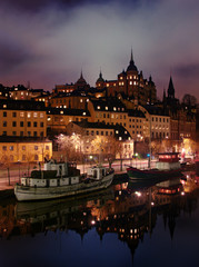 Night view of Stockholms embankment