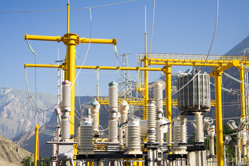 High voltage equipment at power plant. 3
