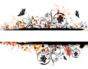 Fotorolgordijn Vlinders in Grunge Grunge paint flower background with butterfly, vector