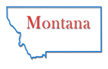 Montana Map Outlined in Neon Blue with Red Lettering