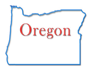Oregon Map Outlined in Neon Blue with Red Lettering