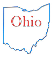 Ohio Map Outlined in Neon Blue with Red Lettering