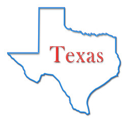 Texas Map Outlined in Neon Blue with Red Lettering