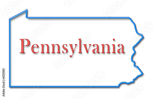 QuotPennsylvania Map Outlined In Neon Blue With Red Lettering