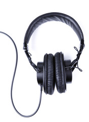 Professional studio headphones over white