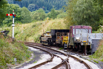 Wagons on the tracks of a preserved railway