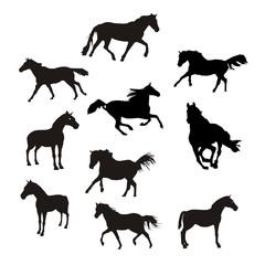siluetas de caballos en vector
