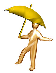 3D brolly man sheltering from the rain