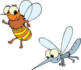 bee and mosquito