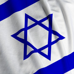 Close up of the Israeli flag, square image
