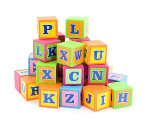 words alphabet blocks studio isolated