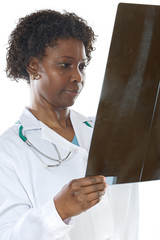 Woman doctor whit radiography a over white background