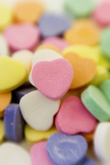 A pile of Valentine's Day candy hearts