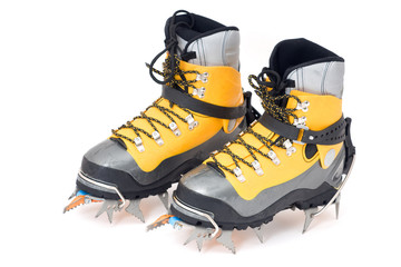 plastic climbing boots with crampons