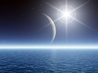 Super Bright Star over Sea
