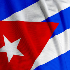 Close up of the Cuban flag, square image