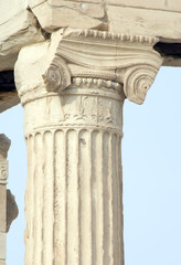 Close up of Erechtheum column in Athens, Greece.