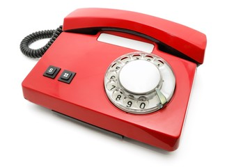 Red phone with a disk.
