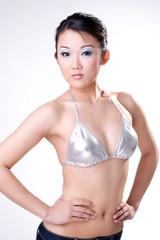 sexy silver bikini asian woman