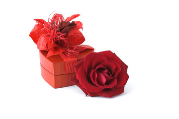 Roses with gift box on white background