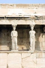 The Porch of the Maidens at the Acropolis in Athens, Greece.