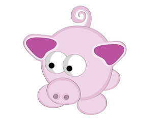 Vector illustration of surreal style cartoon pink pig.