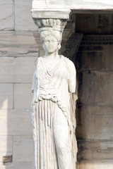 Statue on the Porch of the Maidens  in Athens, Greece.