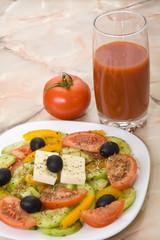 Greek salad, tomato, tomato juice