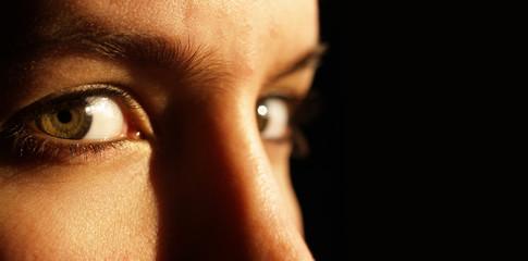 Low key image of 2 beautiful green eyes