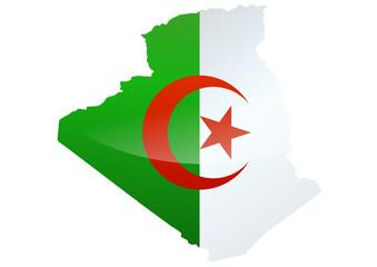 Carte de l'algérie (drapeau métal)