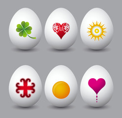 six easter eggs with different symbols over grey background