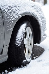 Snow collecting on Automobile tire
