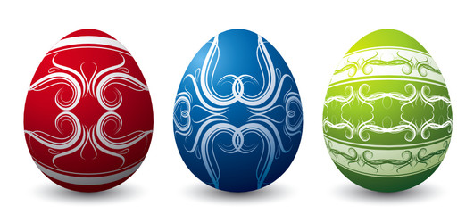 three color easter eggs white background, vector